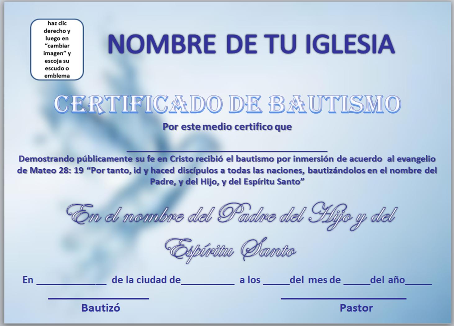 Certificados De Bautismos Cristianos Gratis