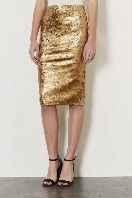 gold velvet skirt