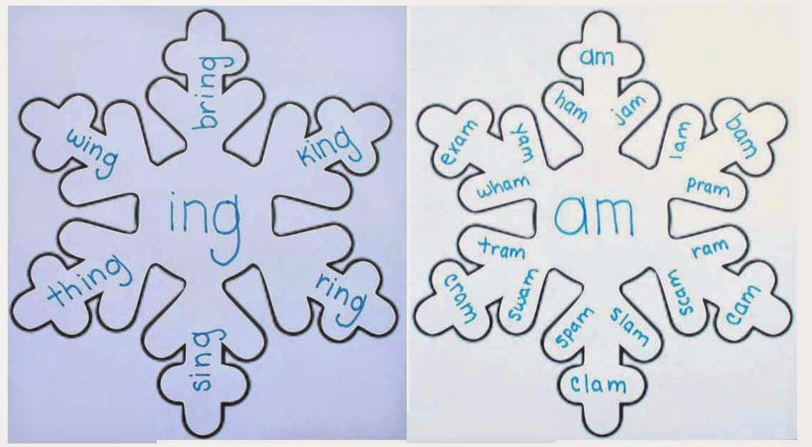 variety of words classroom freebies snowflake word famiies packet