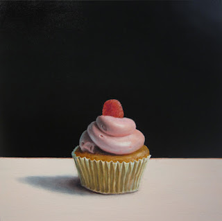 realistic cupcake painting with strawberry pink frosting