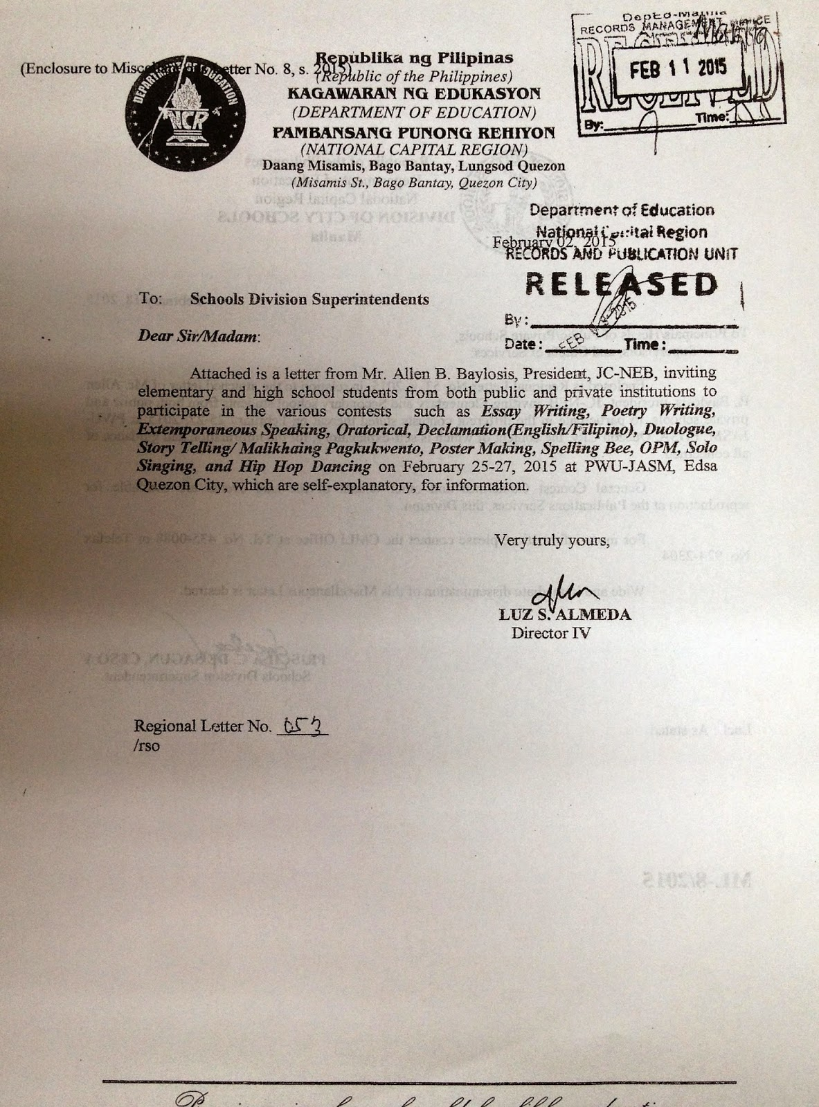 Department Of Education Manila Miscellaneous Letter No 8