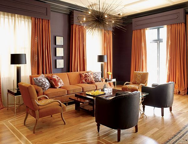 living room interior design with orange color. Black Bedroom Furniture Sets. Home Design Ideas
