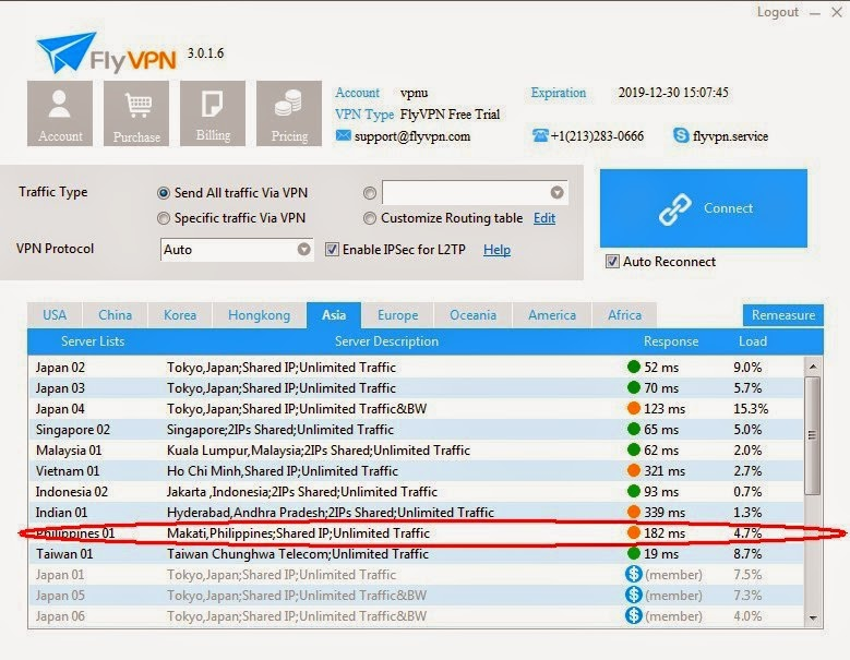 Philippines VPN Server in FlyVPN trial account