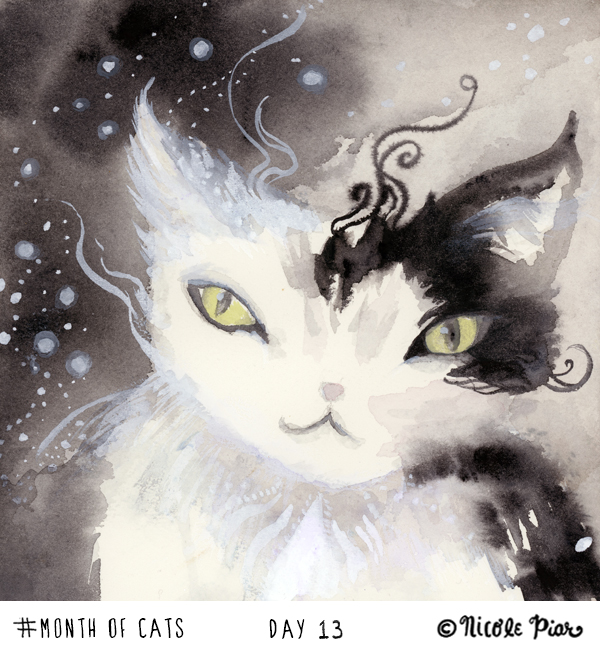 watercolor painting of a cat by Nicole Piar #MonthofCats