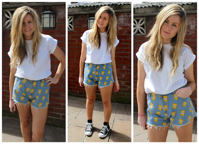 a picture of Through Chelsea's eyes styling the Bart Simpson shorts