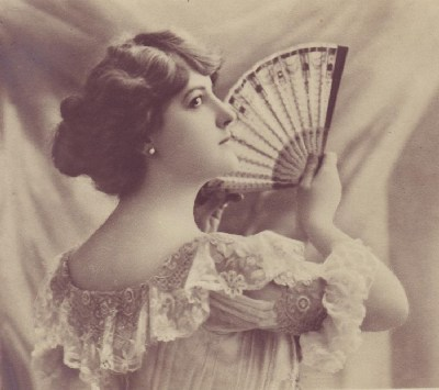 Victorian lady, Victorian lady with fan, Victorian lady fanning herself, antique photograph, antique fan