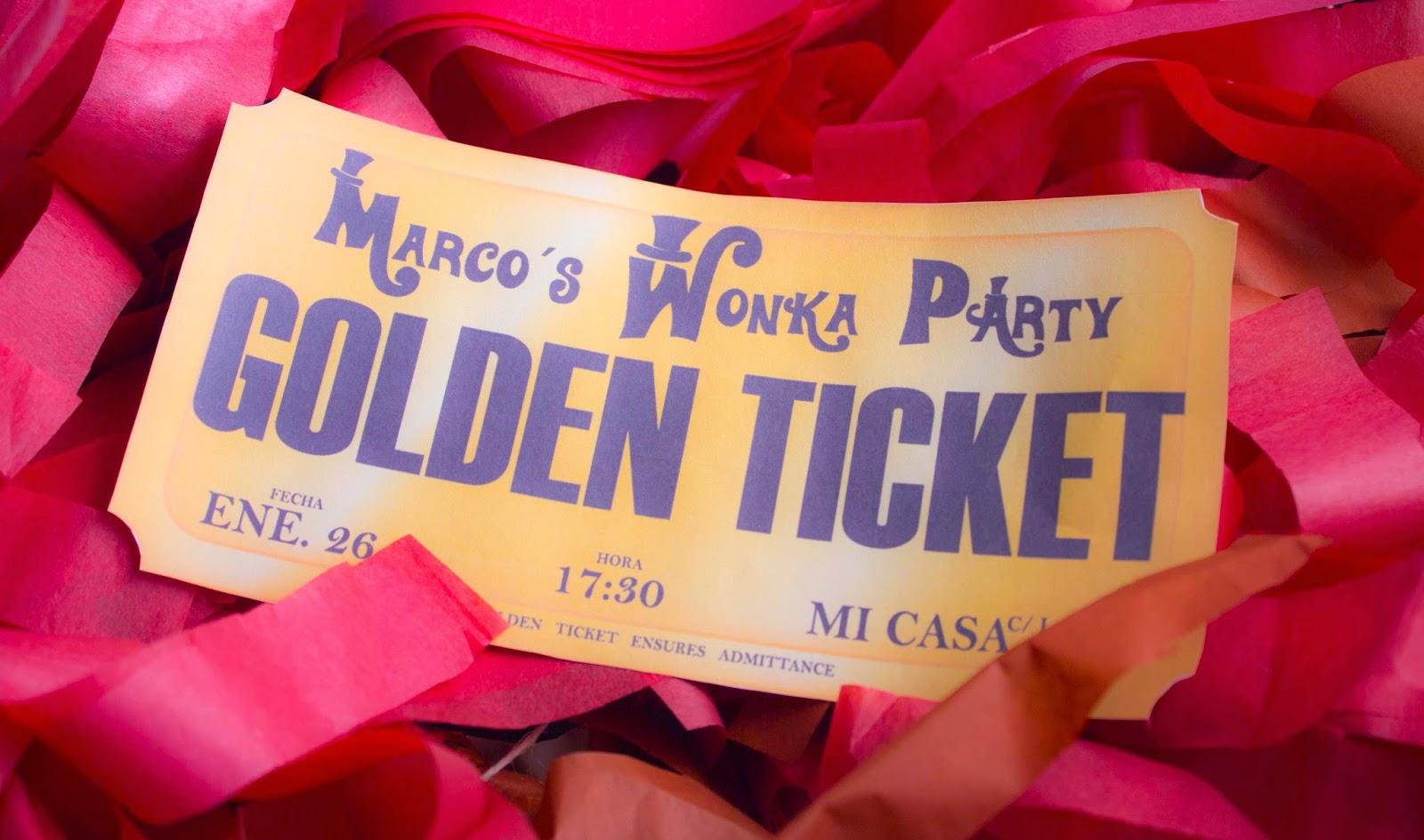 Invitación imprimible gratis Ticket dorado
