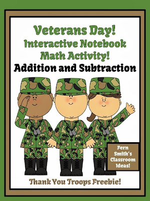 Fern Smith's FREE Veterans Day Addition & Subtraction Interactive Notebook Activities!