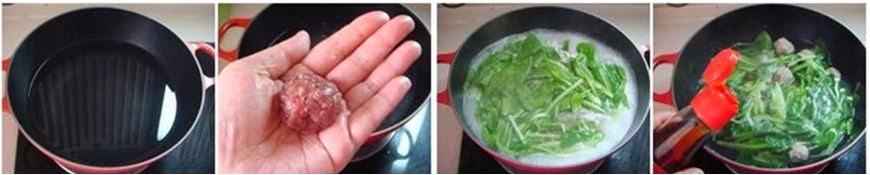 Giải nhiệt Canh cải xanh nấu thịt băm thanh mát 1