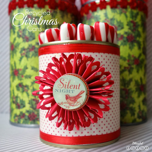 DIY Recycled Christmas Tin Cans from Blissful Roots