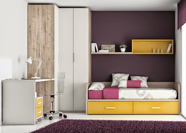 Dormitorio juvenil blanco y amarillo con cama cajones for Distribucion habitacion juvenil