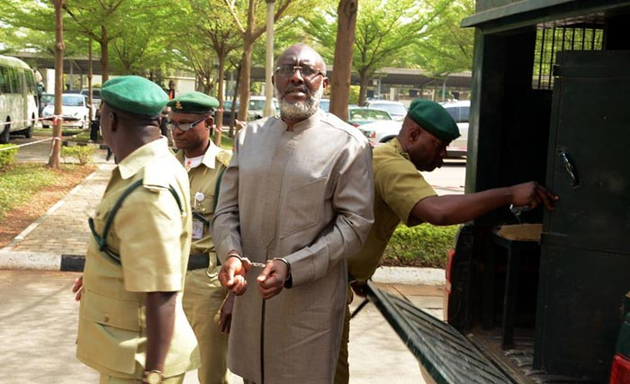 PDP Spokesman Olisa Metuh In Handcuffs As He Appears In Court Today (Photos)