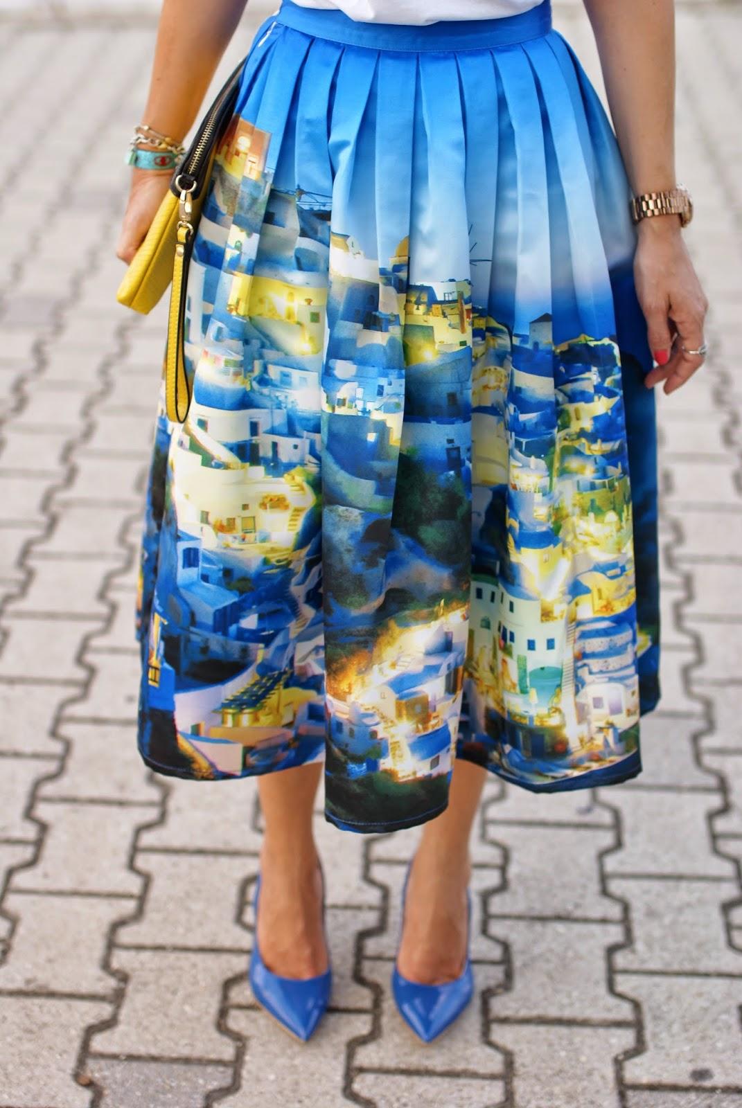 Chicwish Santorini skirt, blue patent leather shoes, santorini skirt, Fashion and Cookies, fashion blogger