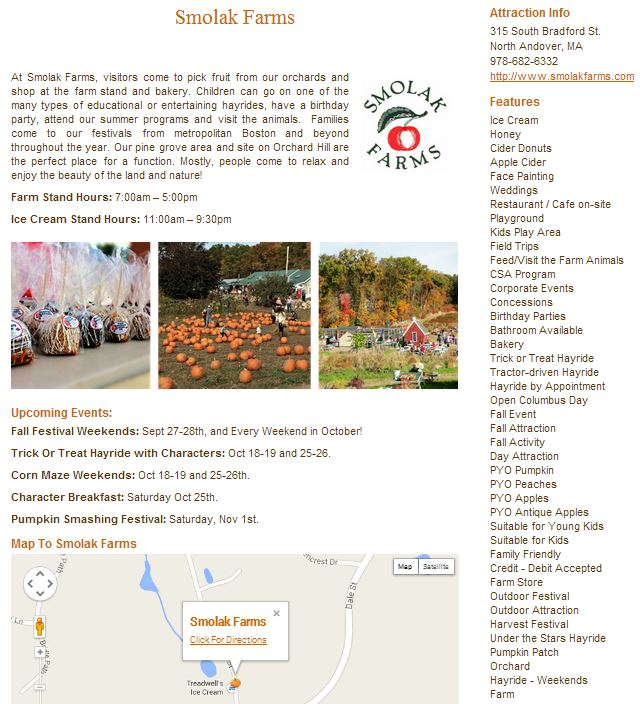 Sample Farm Page and features for Smolak Farms - N. Andover, MA New England Fall Events Image