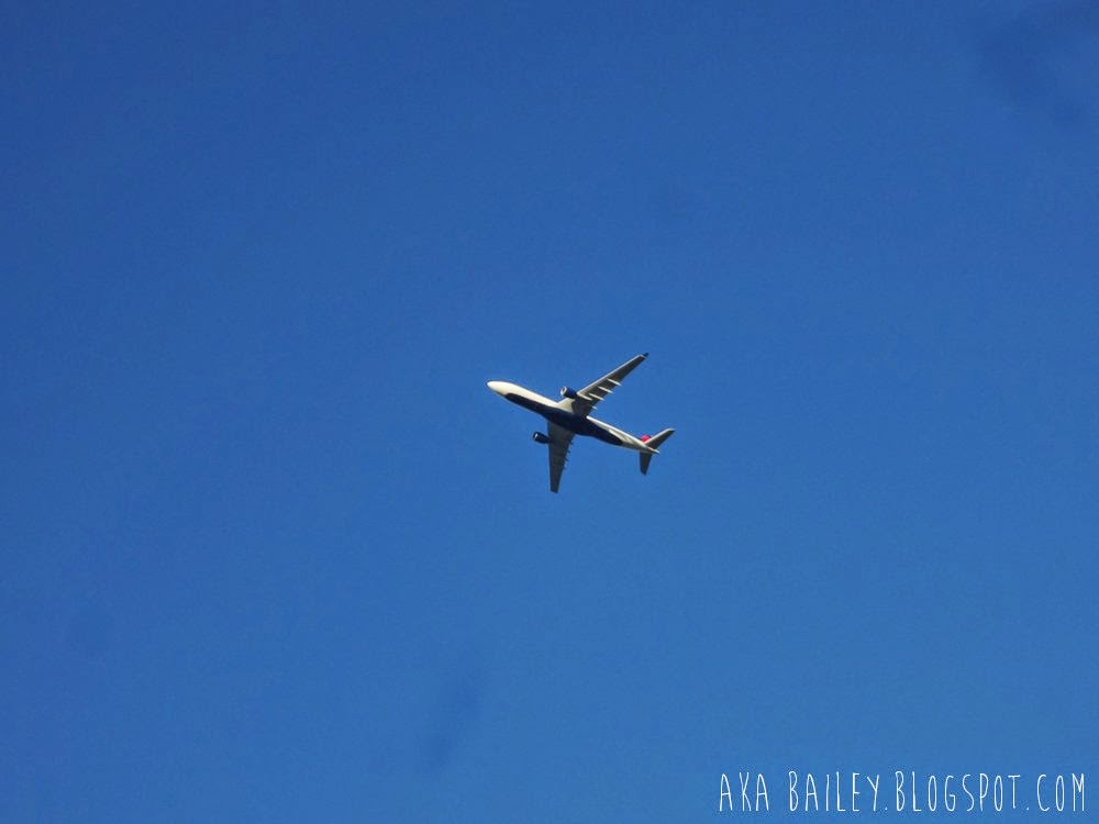 Airplane against a blue sky