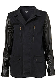 Topshop Contrast Sleeve Army Jacket (Black)