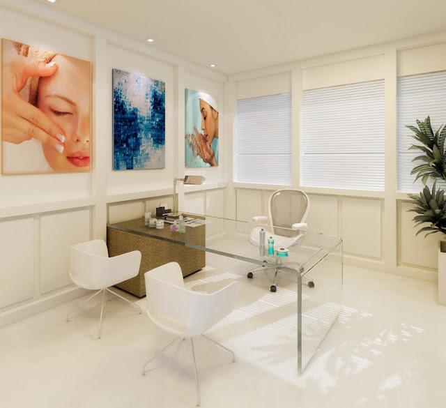 Construindo minha casa clean decora o de consult rios e for Decoracion de centro de estetica fotos