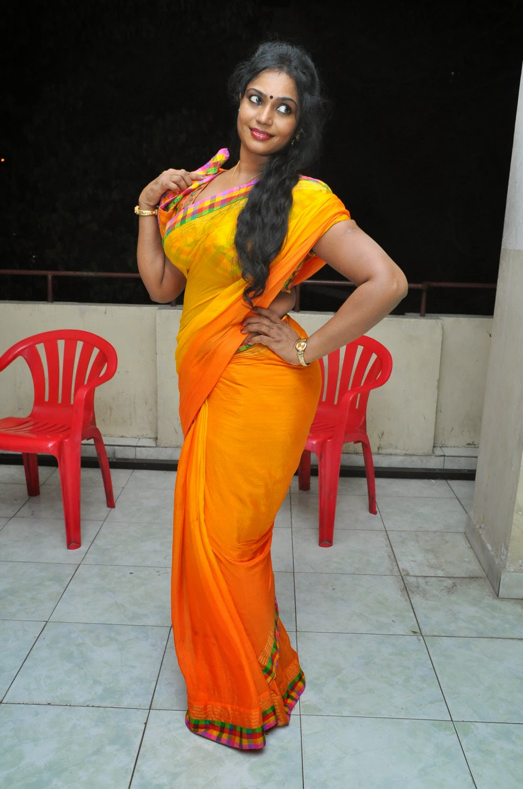 Jayavani glam pics in saree-HQ-Photo-8