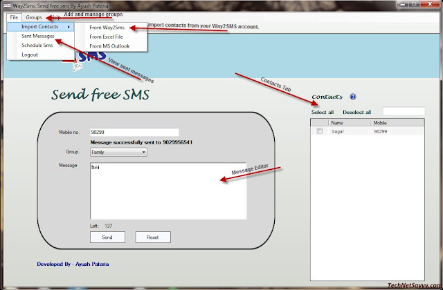 Way2SMS Desktop Client