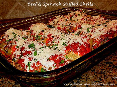 Beef And Spinach Stuffed Shells - melissassouthernstylekitchen.com