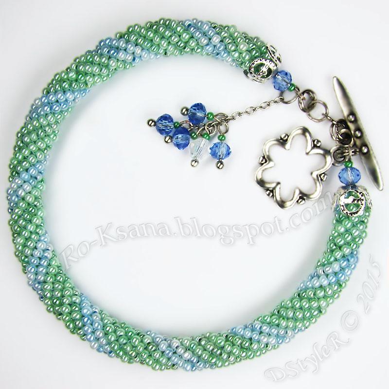 "Beaded bracelet ""Spring Coolness"" twisted tubular herringbone ndebele  Браслет ""Прохлада весны"" спиральный жгут ндебеле из бисера бижутерия хендмейд"