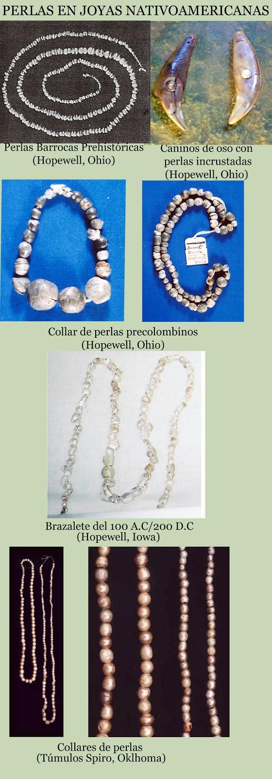 Abalorios con perlas precolombinos. Culturas constructoras de túmulos cerca del río Mississippi