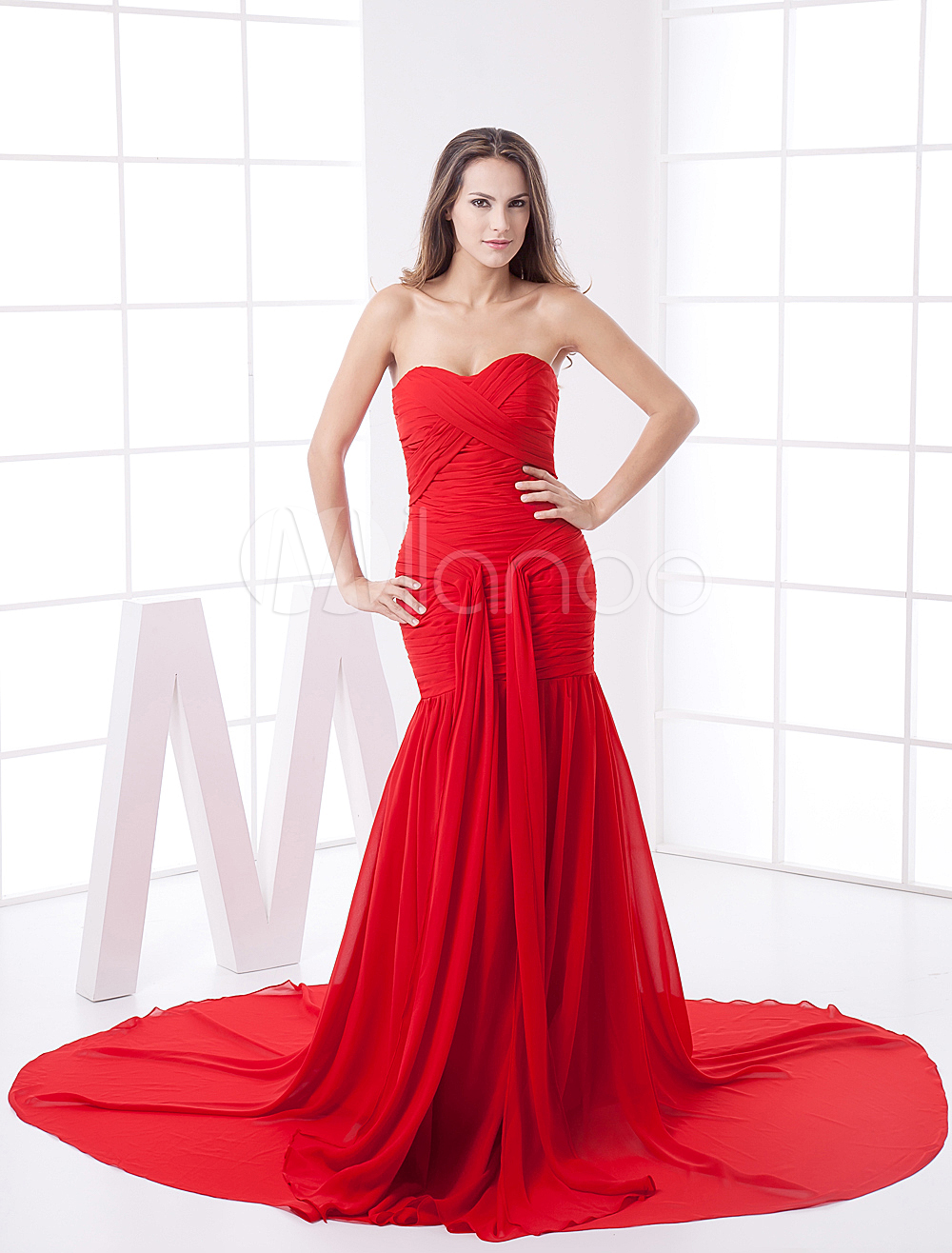 China Wholesale Dresses - Red Chiffon Sweetheart Train Ladies Evening Dress