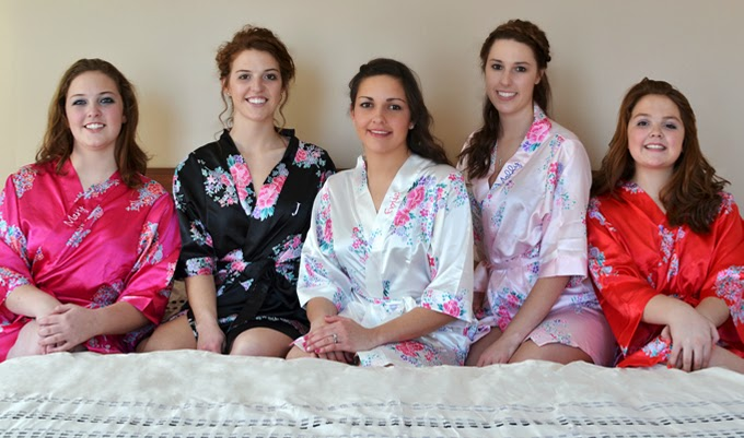 Custom Embroidered Silk Bridesmaids Robes
