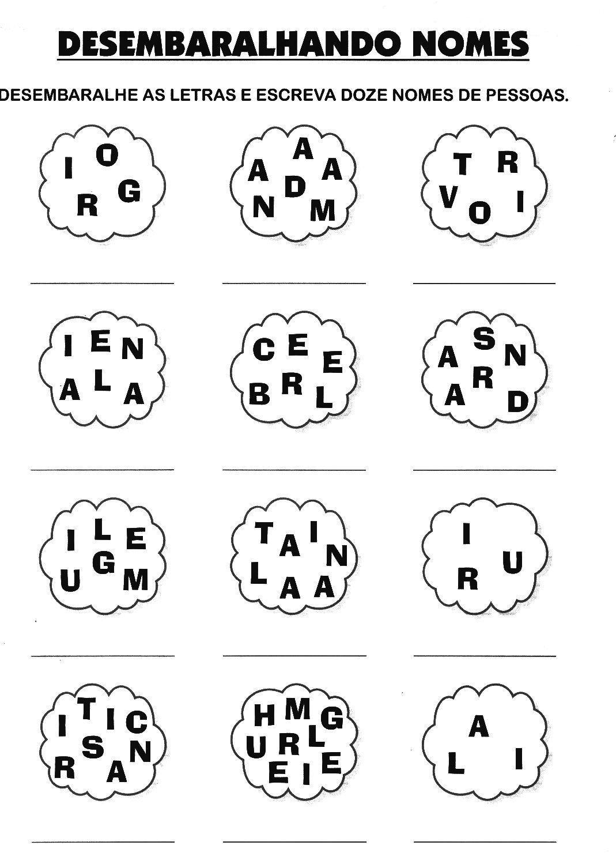 Atividades Para Alfabetizar   Ligue Os Nomes