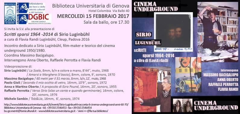 CINEMA UNDERGROUND ALLA BIBLIOTECA UNIVERSITARIA DI GENOVA