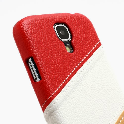Three-color Leather Coated Hard Case for Samsung Galaxy S4 IV i9500 i9502 i9505 - Red / White / Brown