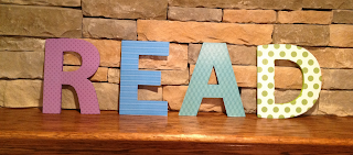 painted and scrapbook wooden letters