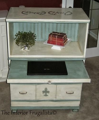 4-drawer dresser now faux secretary desk open