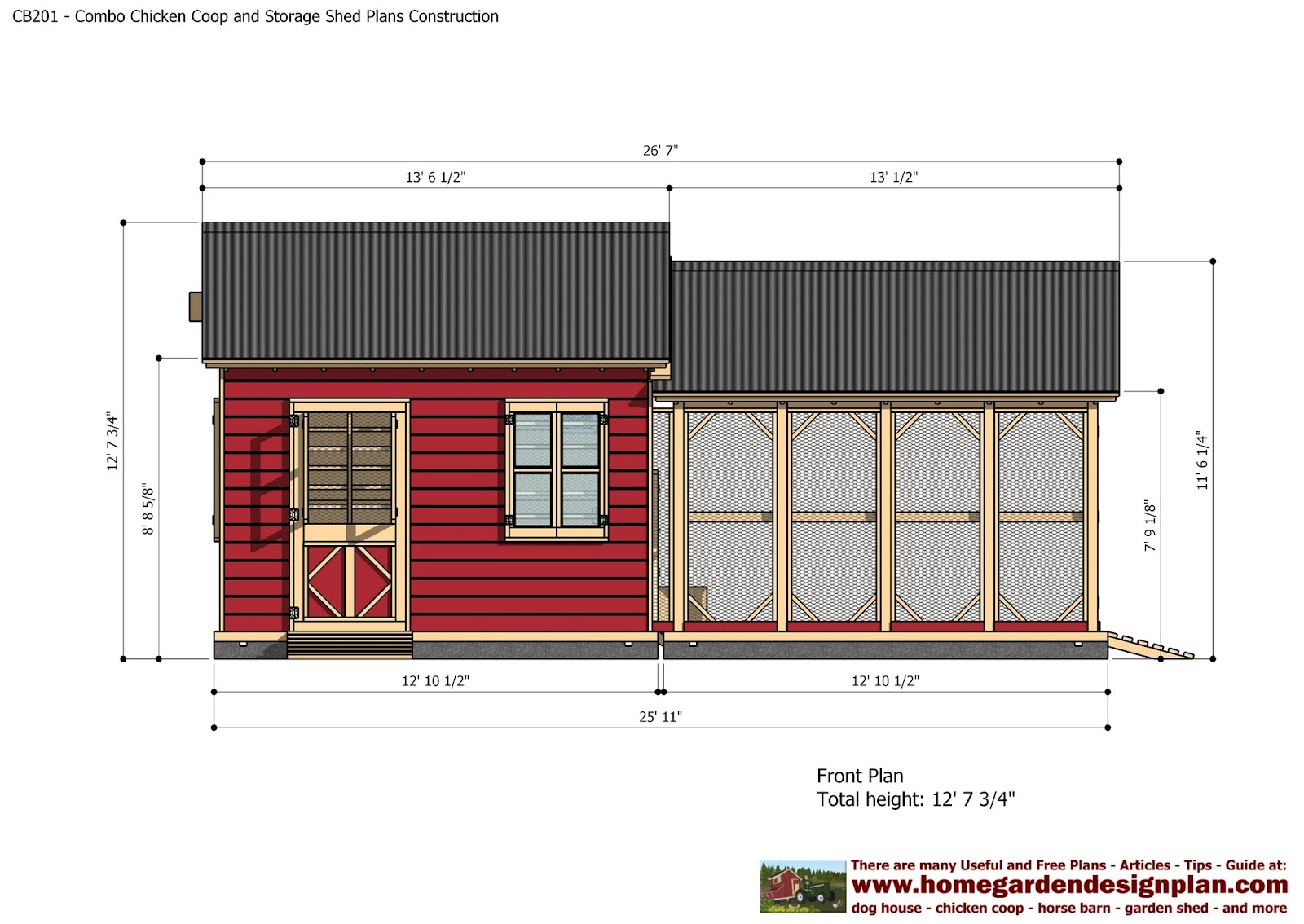 Home garden plans cb201 combo plans chicken coop for Outdoor storage shed plans