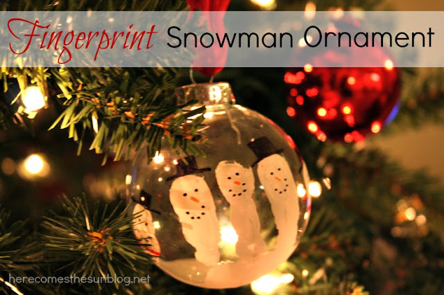 Fingerprint snowman ornament