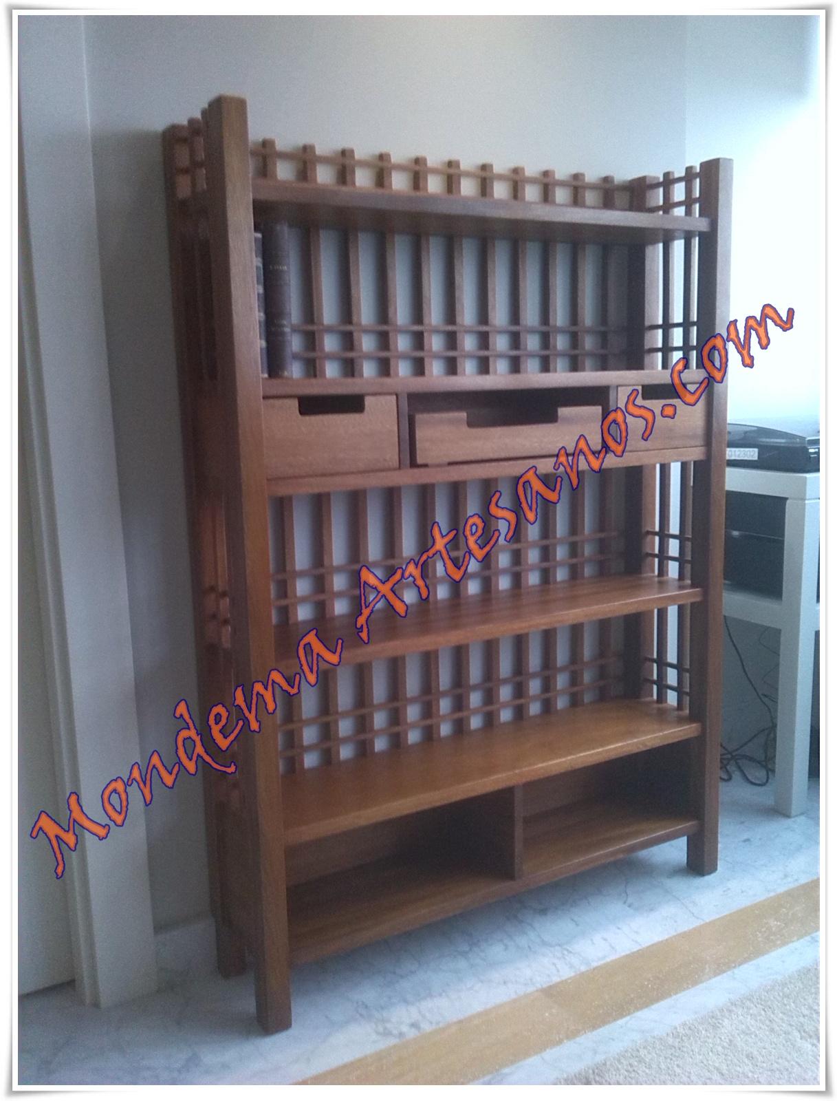 Libreria de madera de iroko artesanos carpinteros - Libreria de madera ...