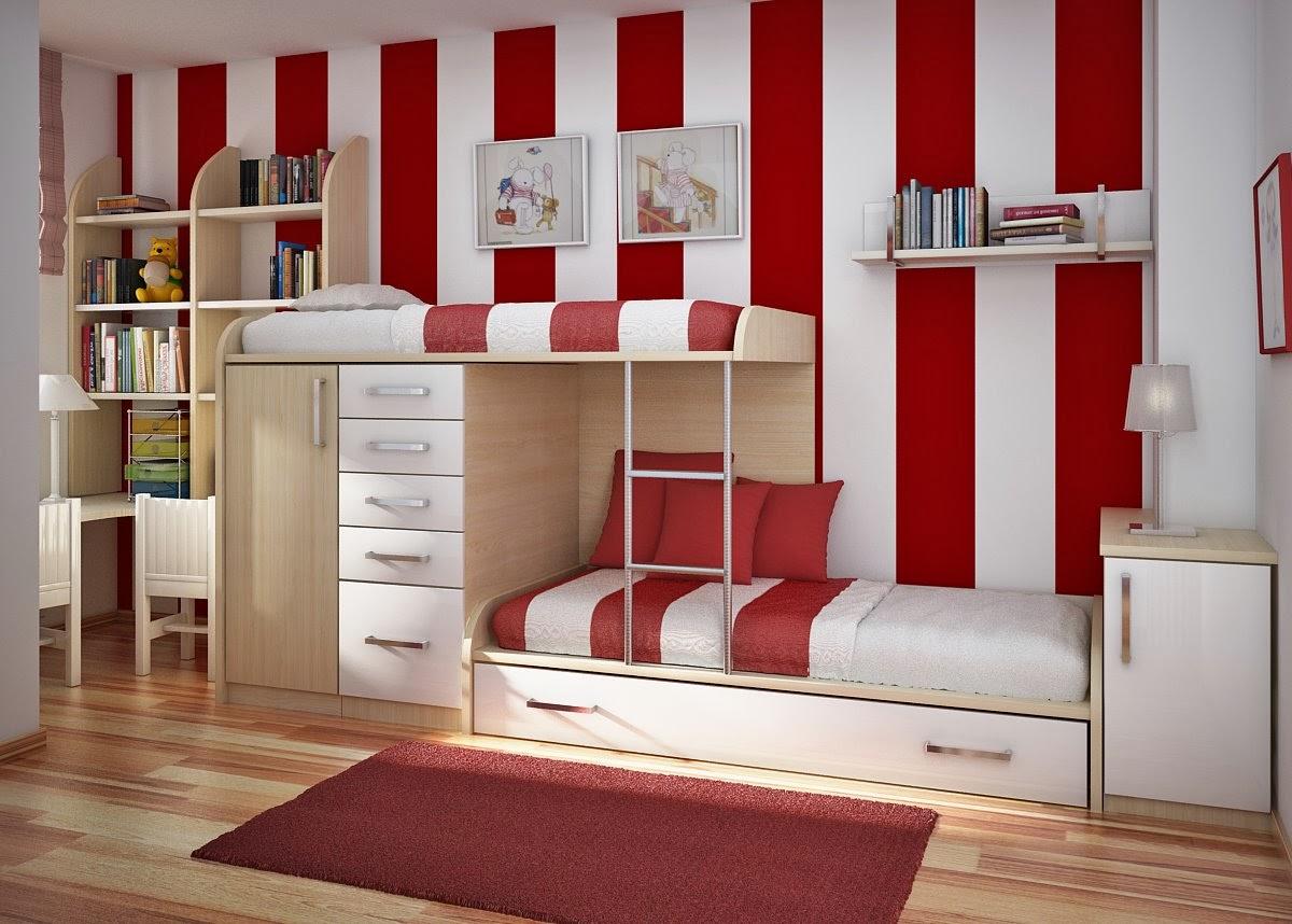 Modern Elegant Kids Bedroom Design with Multi Cabinet