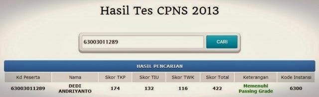 Hasil Pengumuman Tes Cpns 2013 yang Lolos