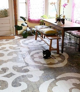 white pattern painted floor