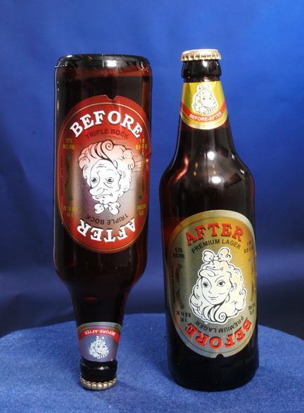 """Creativo logo de cerveza que te advierte del efecto """"Antes - Después"""" al ingerir alcohol"""