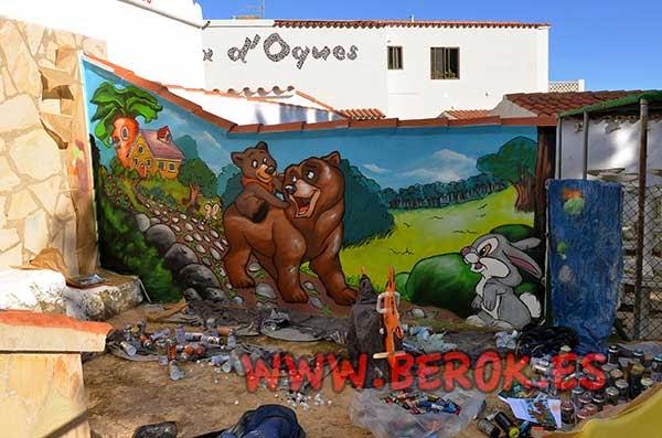 Mural infantil osos y conejo