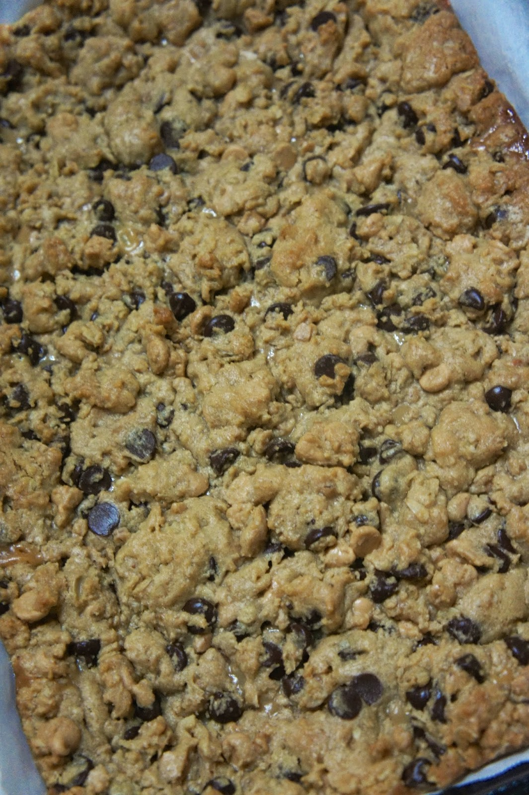 Peanut Butter Caramel Toffee Chocolate Chip Cookie Bars: Savory Sweet and Satisfying