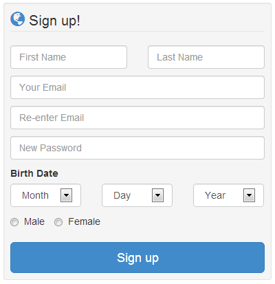 sign up page design using bootstrap