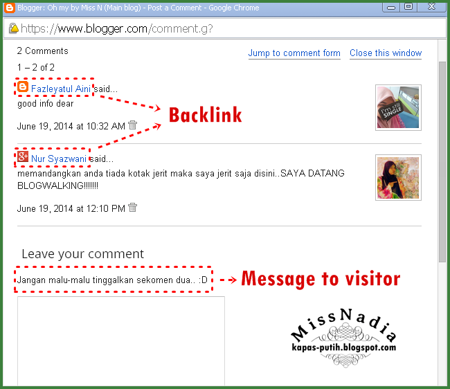 Backlink and message to visitor