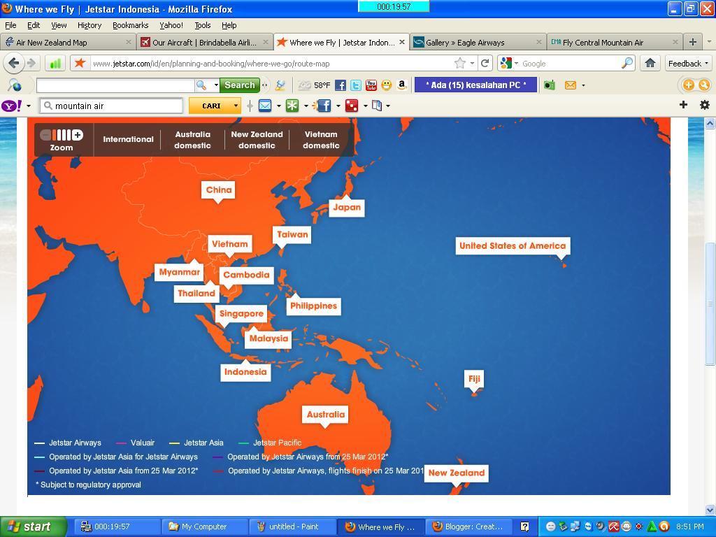 Civil Aviation Jetstar Routes Map - Japan jetstar map