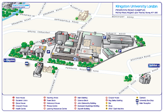 3D map of Kingston university Penryhn road campus created commercially .