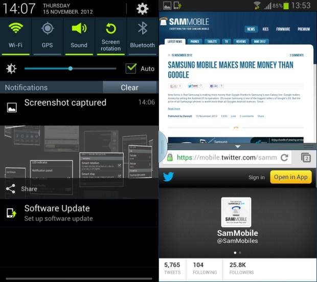 Este firmware es oficial, puede ser usado como un firmware diario y viene con interesantes mejoras como la opción multi-viewo multi ventana que esta presente en el Galaxy Note 2 y puedes ir actualizando los nuevos firmware de Android 4.1.2 que vayan saliendo tal como paso con Android 4.1.1 hasta que Samsung libere vía OTA o Odin la versión correspondiente a tu país o región. Detalles del firmware oficial de Android 4.1.2 I9300XXELKC: Android 4.1.2 – JZO54K Multi-View (Multi-Windows Multitasking, al igual que el Note II) Page Buddy Nueva aplicación de Galería, la misma del Note II Panel de Notificaciones