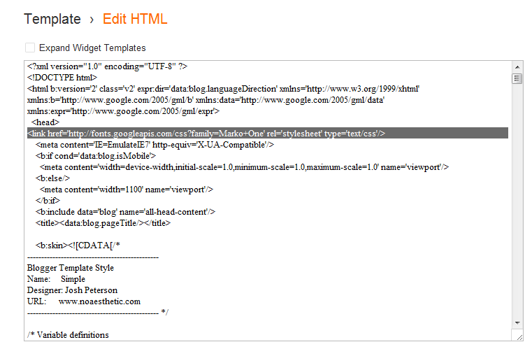 Edit HTML Blogger