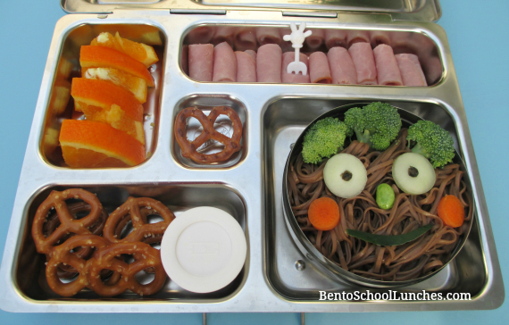Smiley soba noodles, ham roll ups bento school lunch