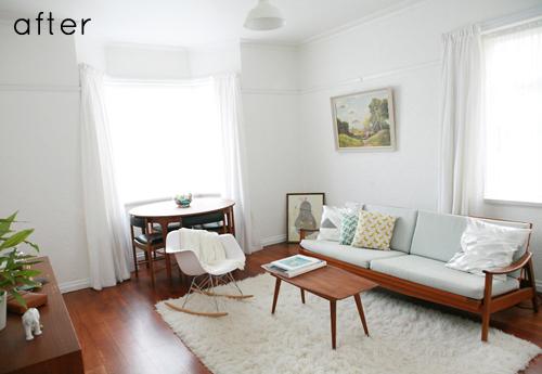 Phòng khách căn hộ nhỏ sau khi thay đổi